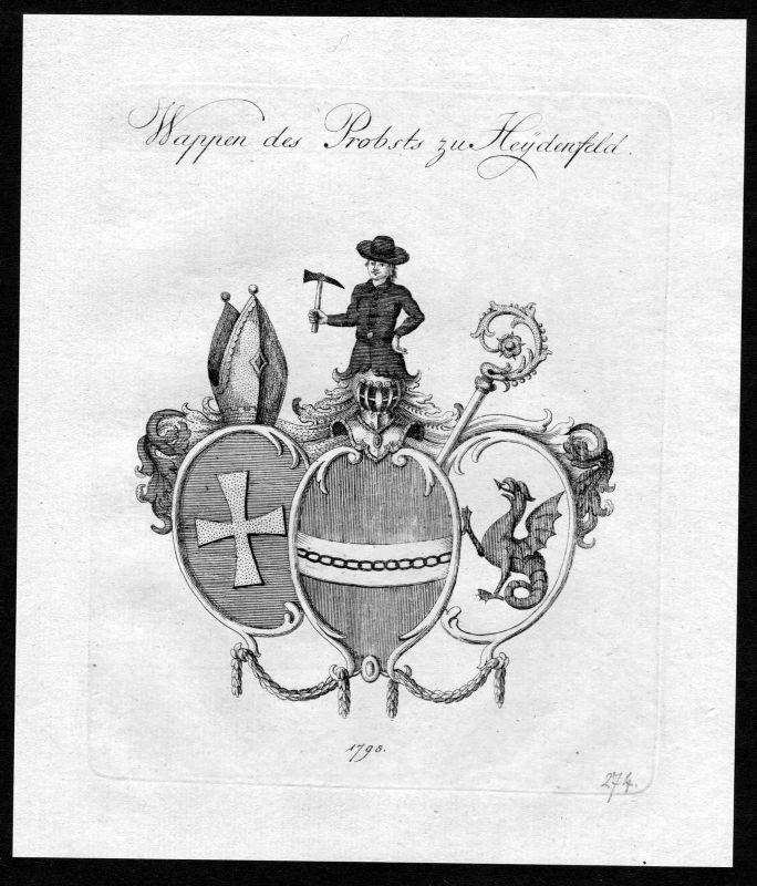 1790 - Heidenfeld Wappen Adel coat of arms heraldry Heraldik Kupferstich 0