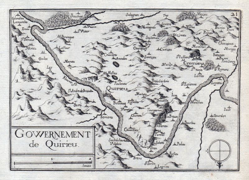 1630 Auvergne-Rhone-Alpes Isere France gravure estampe Kupferstich Tassin 0