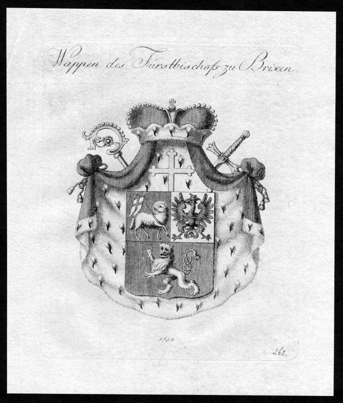 1790 - Brixen Wappen Adel coat of arms heraldry Heraldik Kupferstich 0
