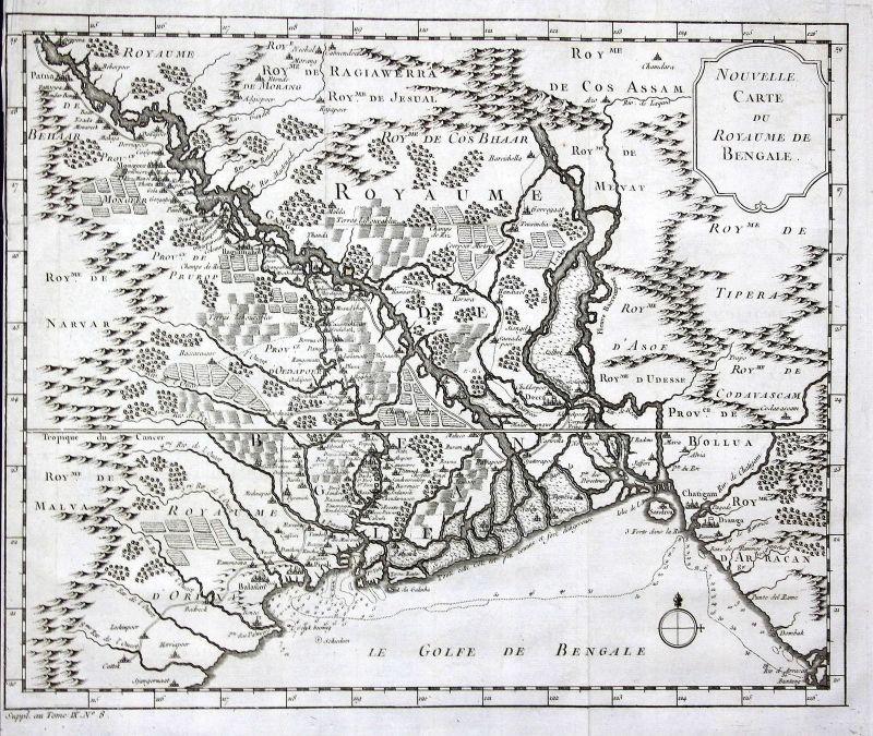Bengal Bangladesch Chittagong Karte map Kupferstich antique print Bellin 0