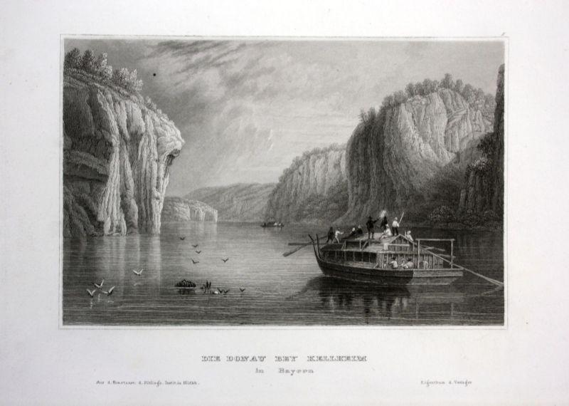 Ca. 1850 Kelheim Donau Danube Bayern view Ansicht Stahlstich antique print 0