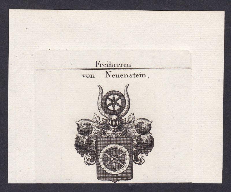 1820 Neuenstein Wappen Adel coat of arms Heraldik Kupferstich antique print 0