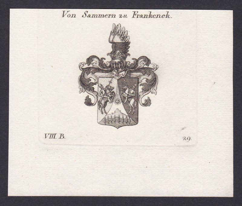 1820 Sammern Frankenek Wappen Adel coat of arms Kupferstich antique print 0