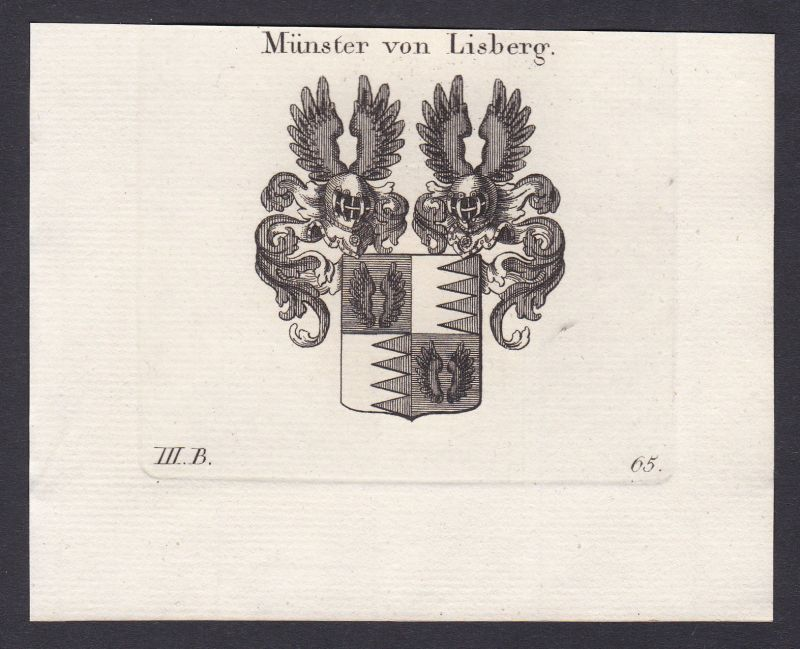 1820 Münster Lisberg Franken Bamberg Wappen Adel coat of arms Kupferstich 0