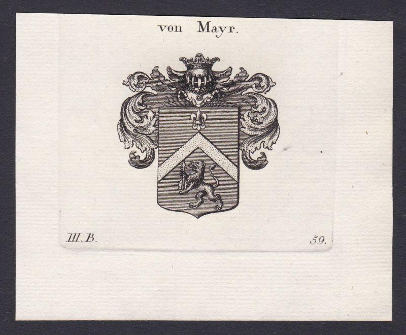 1820 Mayr Mayer Wappen Adel coat of arms Heraldik Kupferstich antique print 0