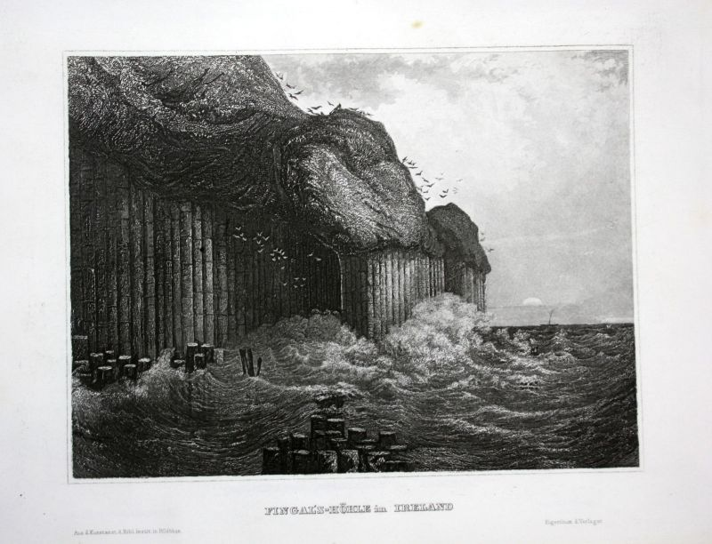 Ca 1850 Fingal's Cave Uamh-Binn Staffa Scotland Ansicht Stahlstich antique print 0