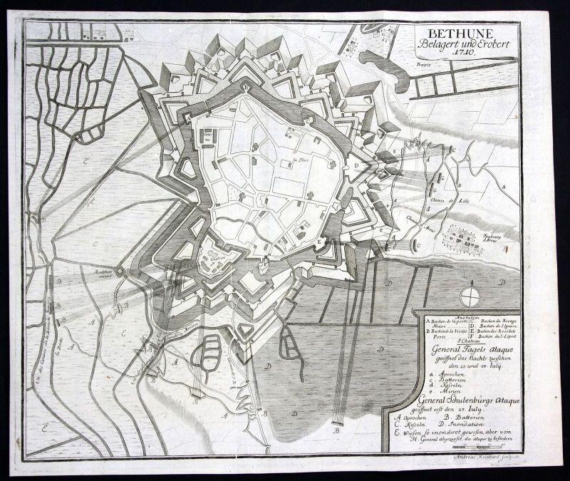 1715 Bethune bataille plan carte gravure Kupferstich antique print Merian