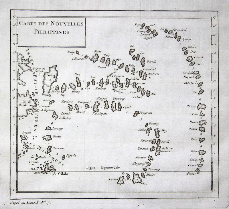 Philippines Philippinen Asien Asia map Karte Kupferstich antique print Bellin 0