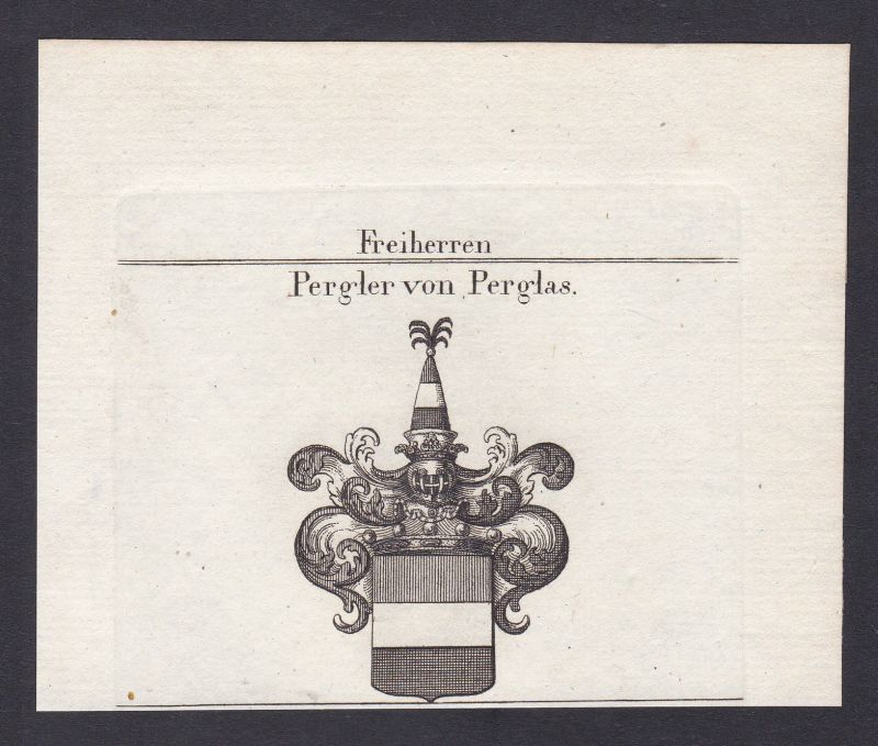 1820 Pergler Perglas Meißen Böhmen Wappen Adel coat of arms Kupferstich 0