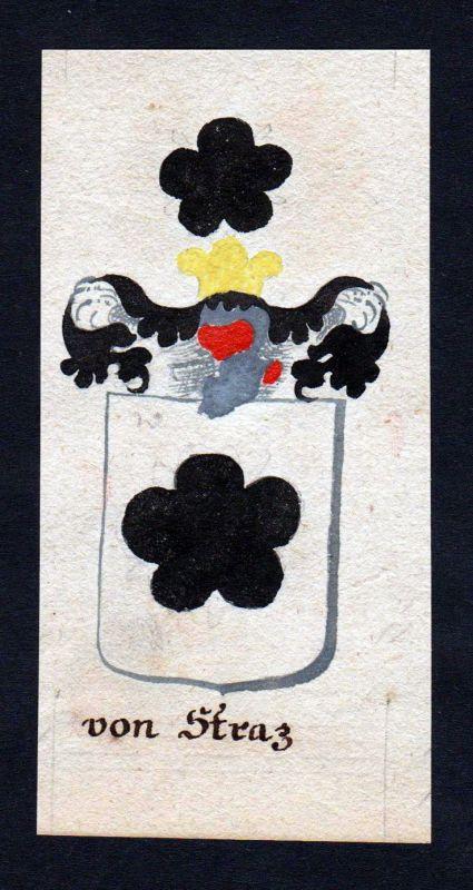 18. Jh. von Straz Böhmen Manuskript Wappen Adel coat of arms heraldry Heraldik 0