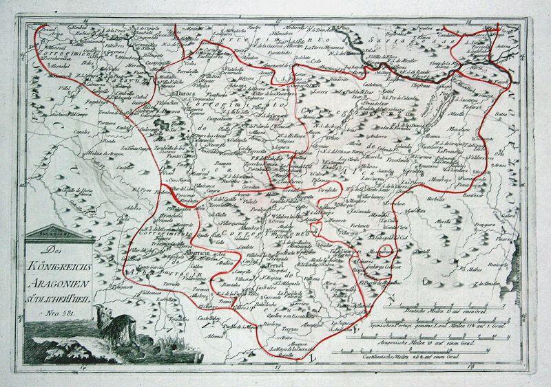 Spanien Spain Portugal Aragonien Aragón Teruel map Reilly engraving Kupferstich