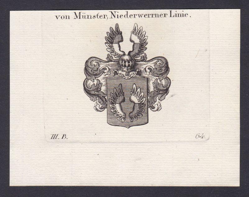 1820 Münster Nordrhein-Westfalen Wappen Adel coat of arms Kupferstich 0