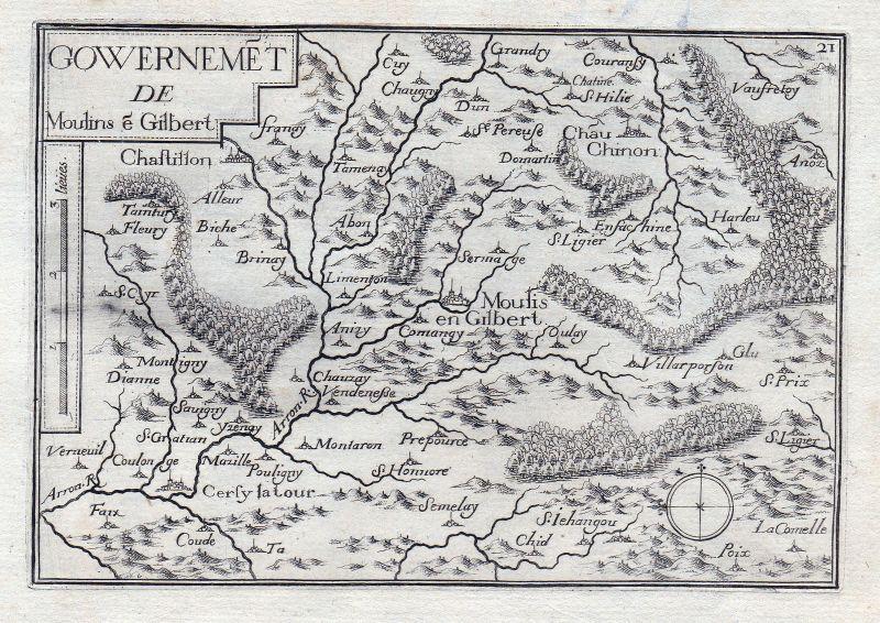 1630 Moulins-Engilbert Nievre Burgund Bourgogne France gravure estampe Tassin