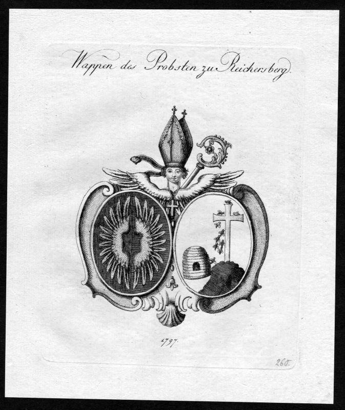 1790 - Stift Reichersberg Wappen Adel coat of arms heraldry Heraldik Kupferstich 0