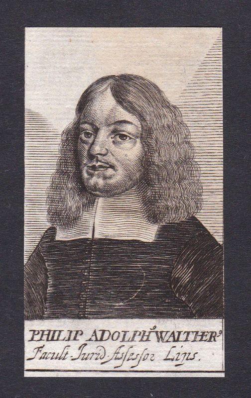 17. Jh. Philipp Adolph Walther / lawyer Jurist Lippe Portrait Kupferstich 0