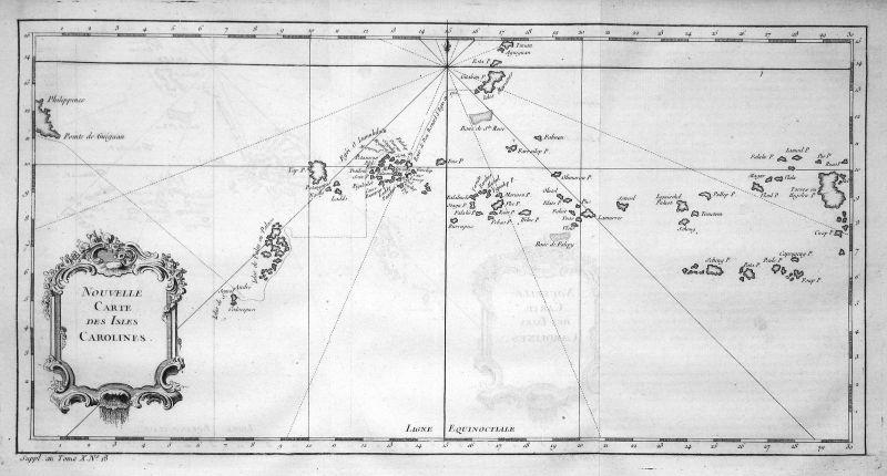 Karolinen Caroline Islands Mikronesien Oceania map Karte Kupferstich Bellin 0