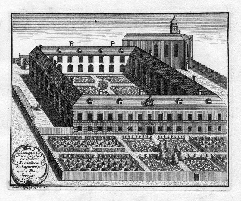 1731 Augustinerkloster Speyer Augustiner Kupferstich antique print Steidlin
