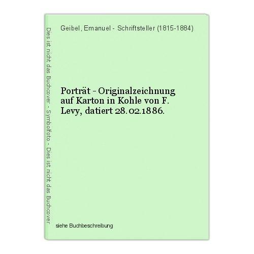 Porträt - Originalzeichnung auf Karton in Kohle von F. Levy, datiert 28.02.1886. 0
