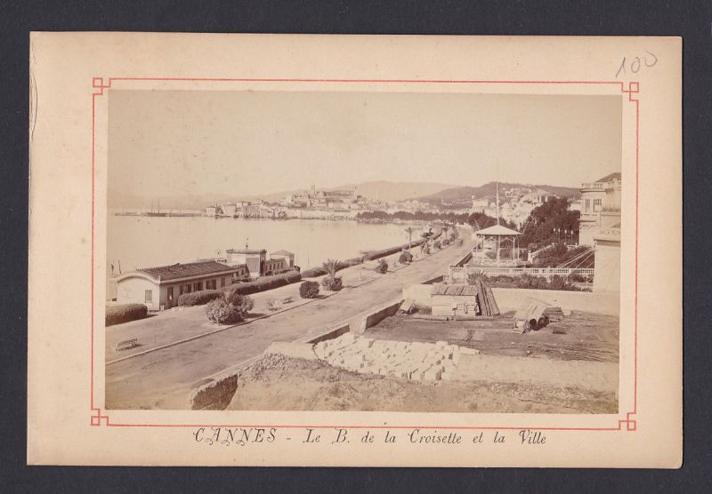 1880 Cannes - Le B. de la Croisette et la Ville antique Foto Photo vintage 0