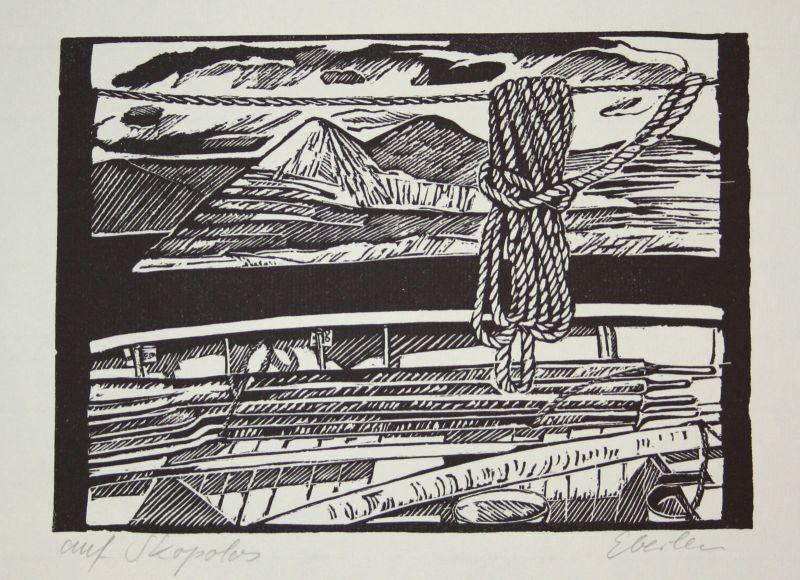 2001 Klaus Eberlein Auf Skopolos Seil Strick Berge Linolschnitt signiert Grafik 0