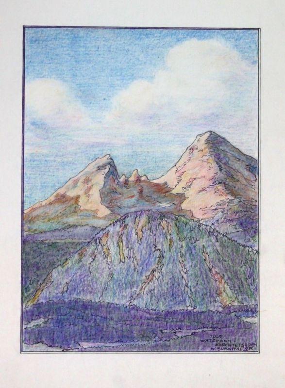 1942 Watzmann Berchtesgaden Zeichnung signiert W. Burgstaller Architekt München 0