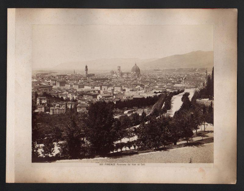 Firenze Panorama dal Viale de Colli Straßensystem antique Foto Photo albumen 0