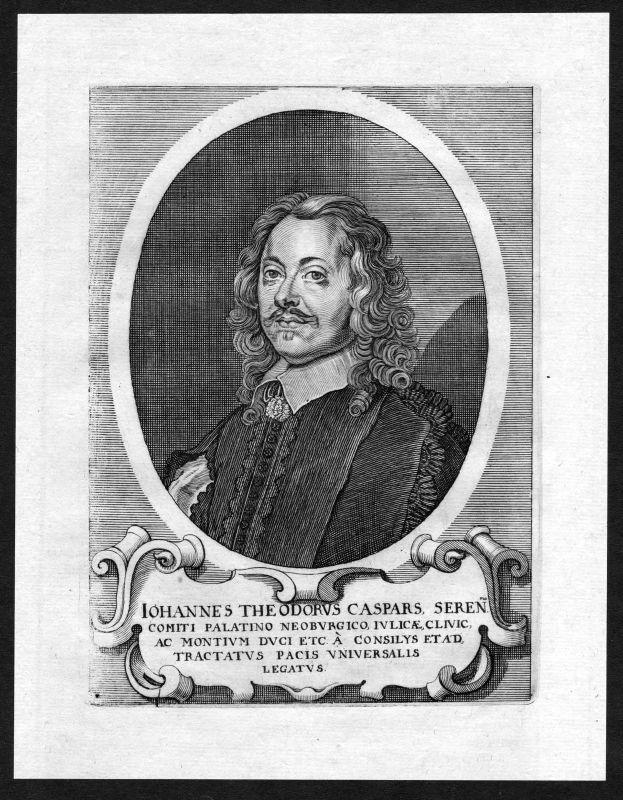 17. Jh. Johann Theodor Caspars Pfalz-Neuburg Portrait Kupferstich antique print 0
