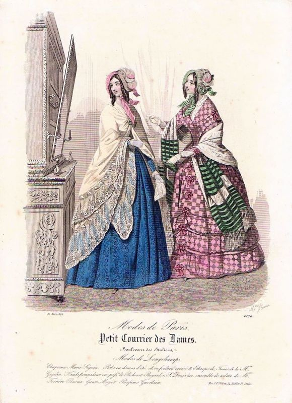 1846 Biedermeier Mode Kupferstich victorian fashion antique print etching  89725 0