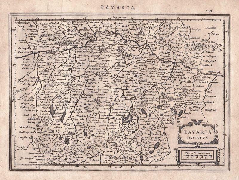 1628 Bavaria Bayern Munich München Dingolfing Ingolstadt map Karte Mercator 0