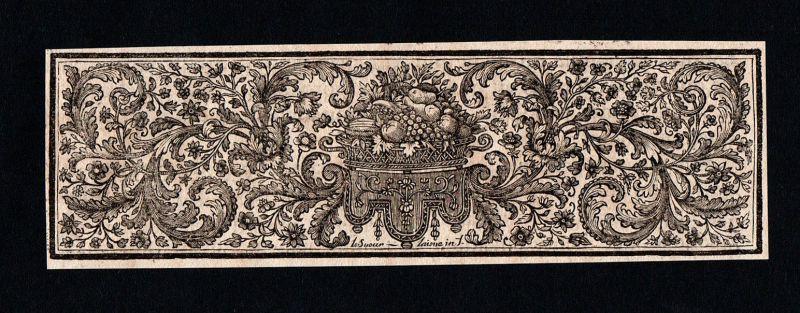 Ornament Obstkorb Früchtekorb fruit basket Kupferstich antique print ca. 1700