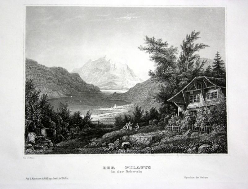 Ca. 1840 Pilatus Berg mountain Ansicht view Stahlstich engraving
