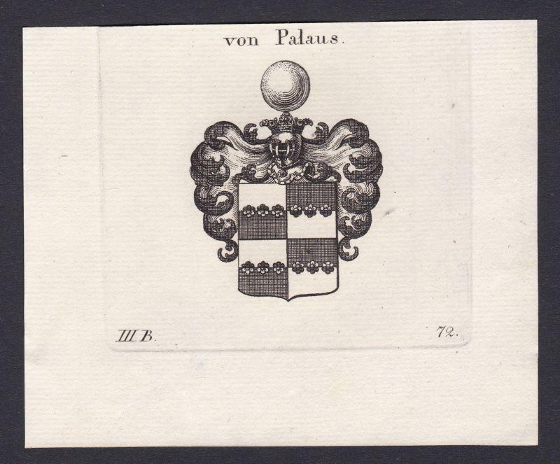 1820 Palaus Wappen Adel coat of arms heraldry Heraldik Kupferstich antique print 0