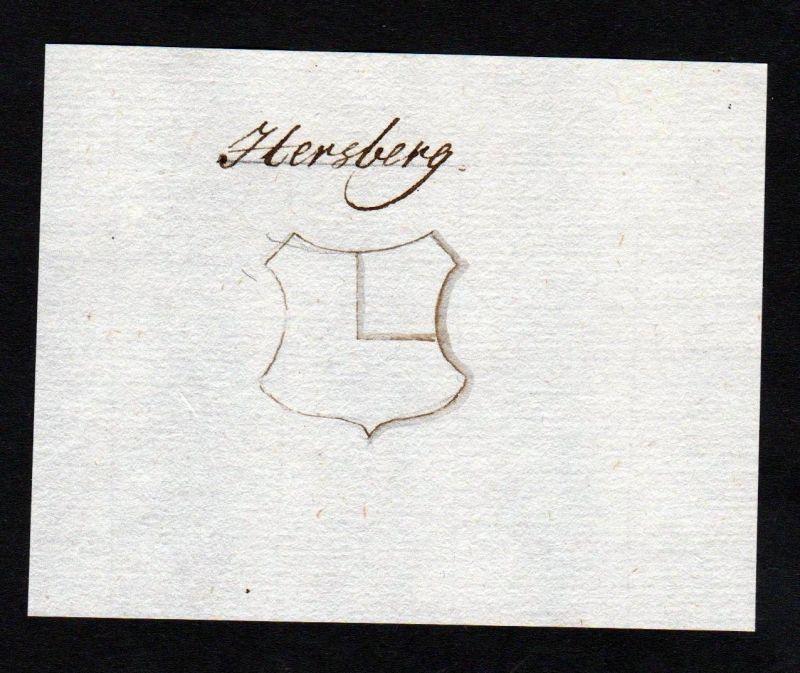 18. Jh. Hersberg Herzberg Handschrift Manuskript Wappen manuscript coat of arms 0