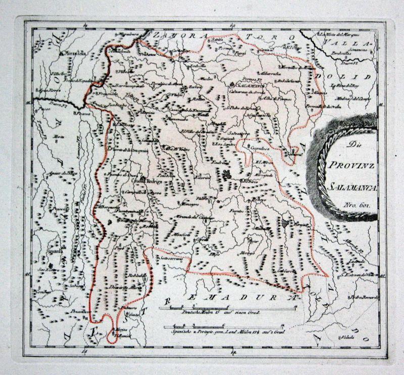 Spanien Spain Portugal Alba de Tormes Salamanca map Reilly engraving Kupferstich
