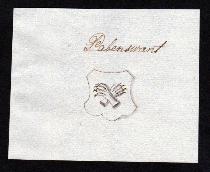 18. Jh. Pabenwant Handschrift Manuskript Wappen manuscript coat of arms 0