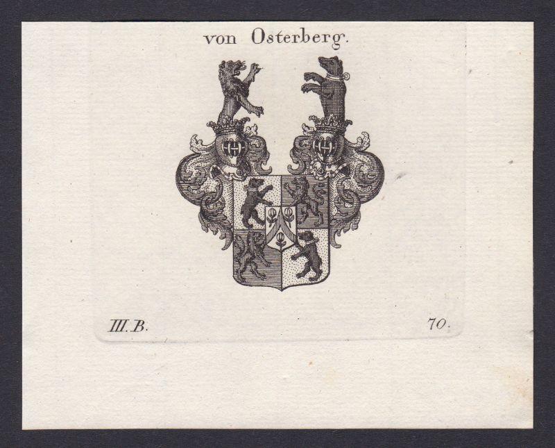 1820 Osterberg Böhmen Bohemia Wappen Adel coat of arms Kupferstich antique print 0