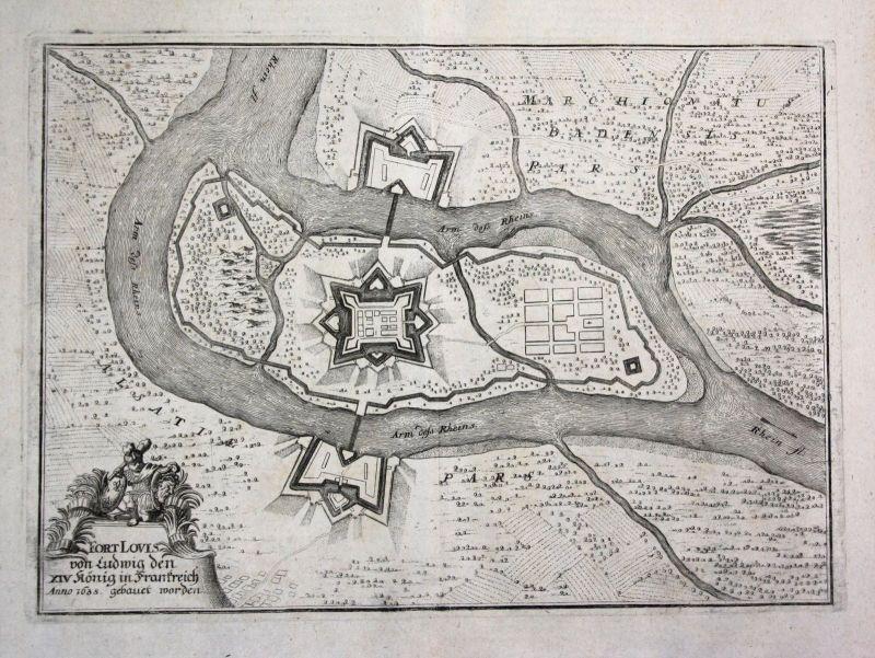 1698 Fort-Louis France gravure plan carte map Kupferstich antique print Merian 0