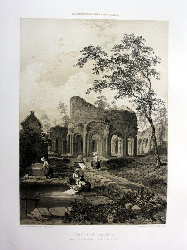 Ca. 1870 Temple de Lanleff Bretagne France estampe Lithographie lithograph 0
