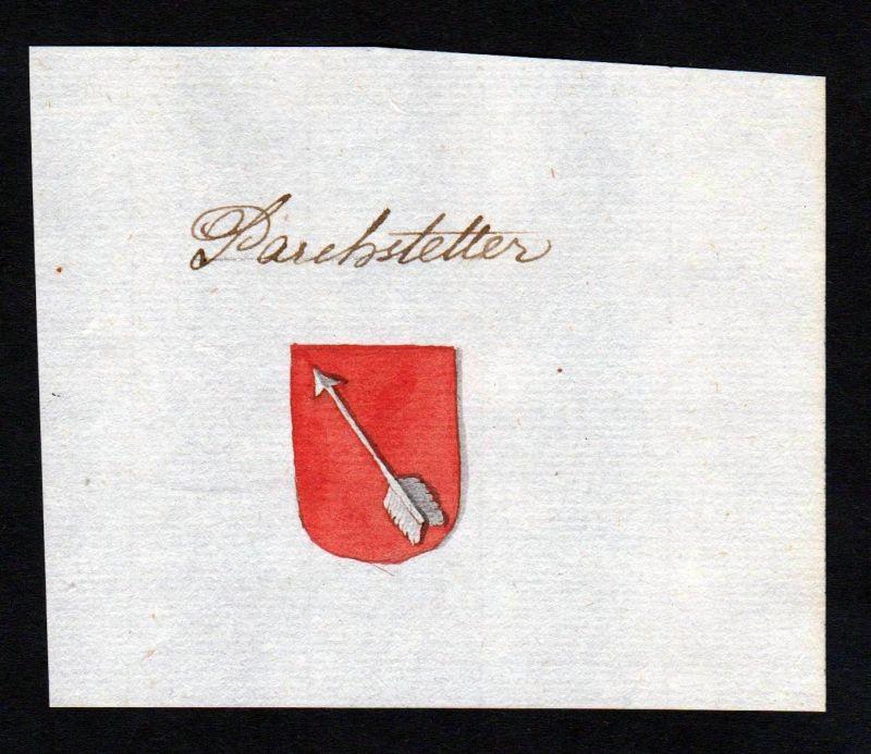 18. Jh. Parchstetter Handschrift Manuskript Wappen manuscript coat of arms 0