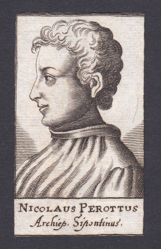 17. Jh. Niccolò Perotti / humanist Humanist Siponto Italien Portrait Kupferstich 0
