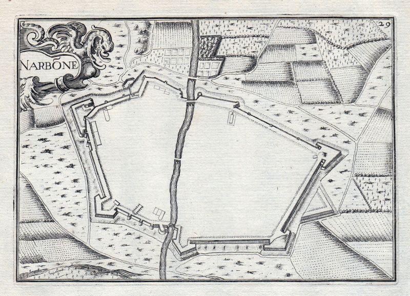 1630 Narbonne Aude France gravure estampe Kupferstich Tassin 146408