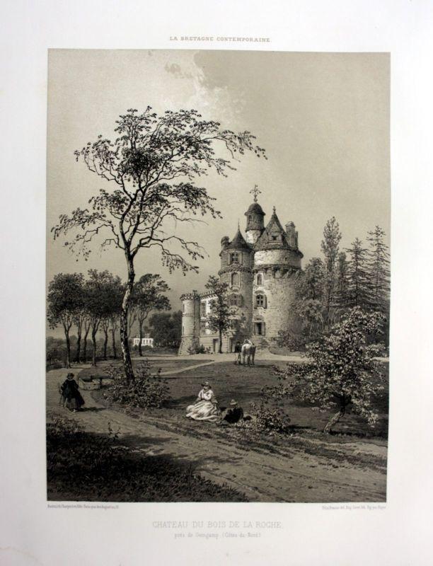 1870 Chateau du Bois-de-la-Roche Bretagne France estampe Lithographie lithograph