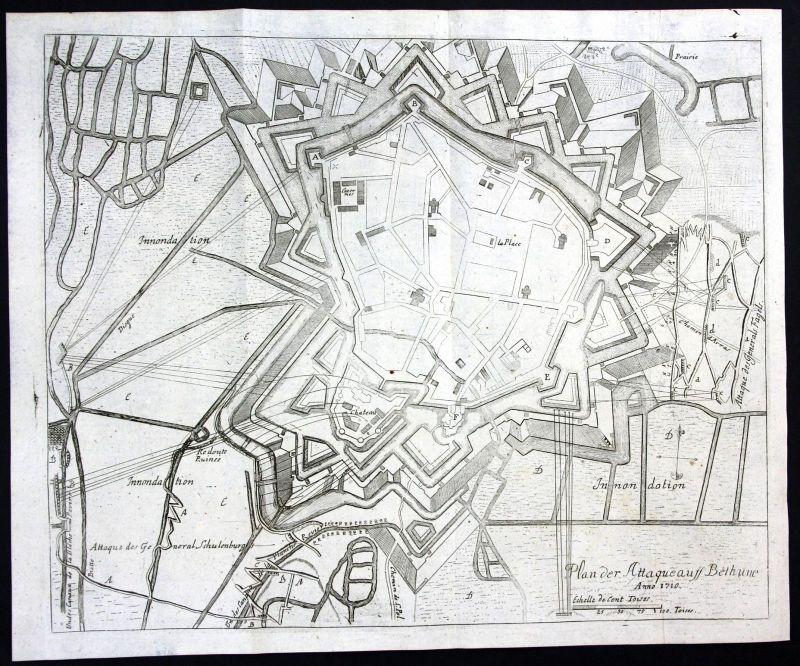 Ca. 1715 Bethune bataille plan carte gravure Kupferstich antique print Merian