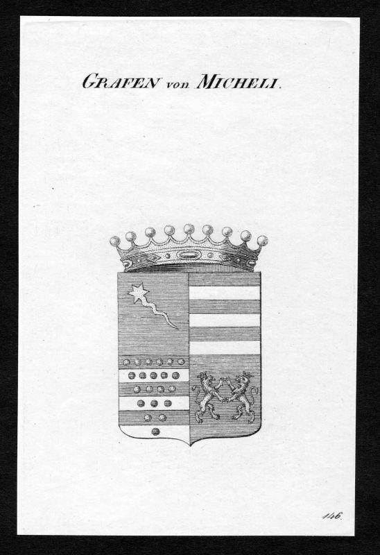 Ca. 1820 Micheli Wappen Adel coat of arms Kupferstich antique print heraldry 0