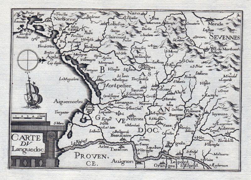 1630 Languedoc Pyrénées-Orientales Okzitanien France gravure estampe Tassin