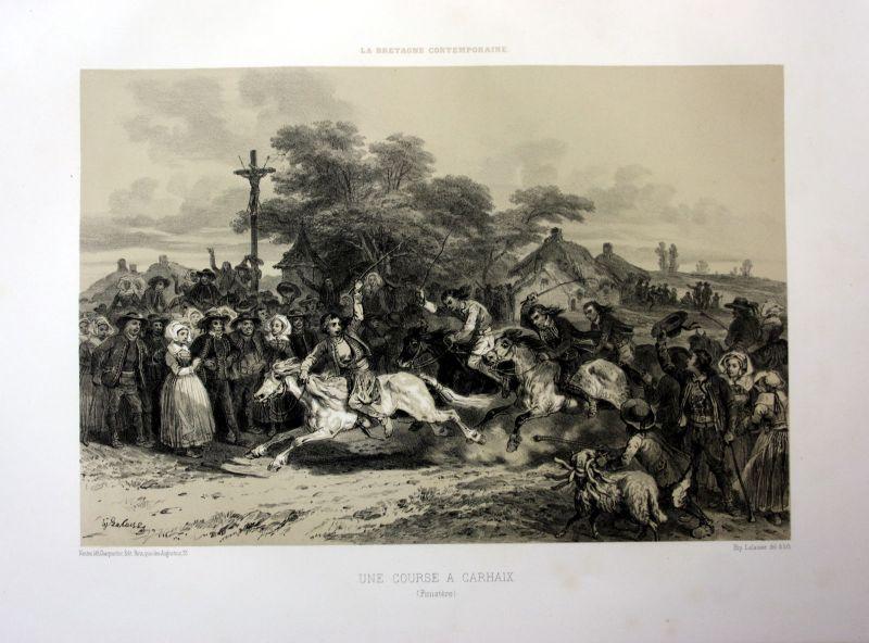 Ca. 1870 Carhaix-Plouguer Bretagne France estampe Lithographie lithograph
