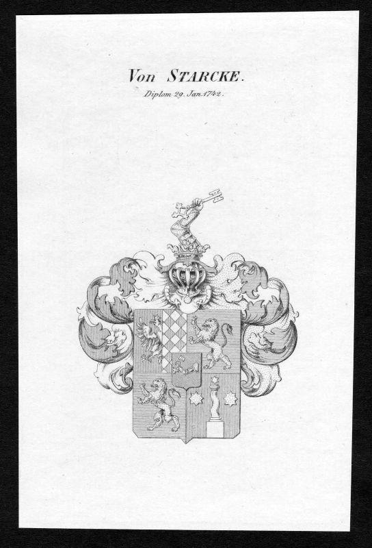 Ca. 1820 Starcke Wappen Adel coat of arms Kupferstich antique print heraldry 0