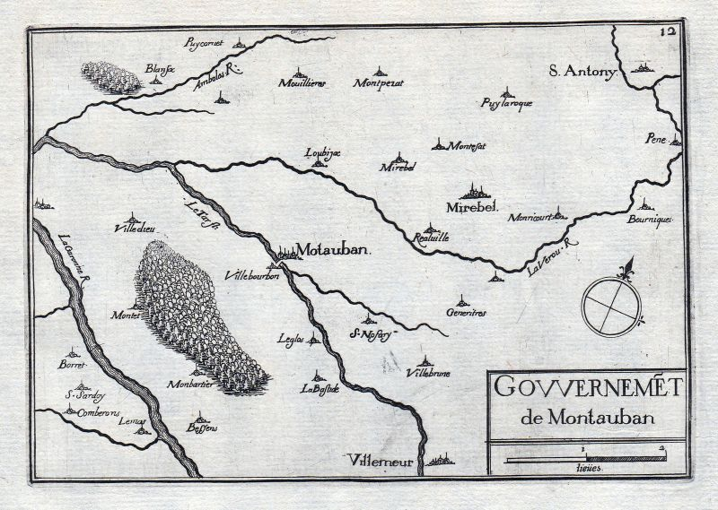 1630 Montauban Tarn-et-Garonne Okzitanien France gravure estampe Tassin 0
