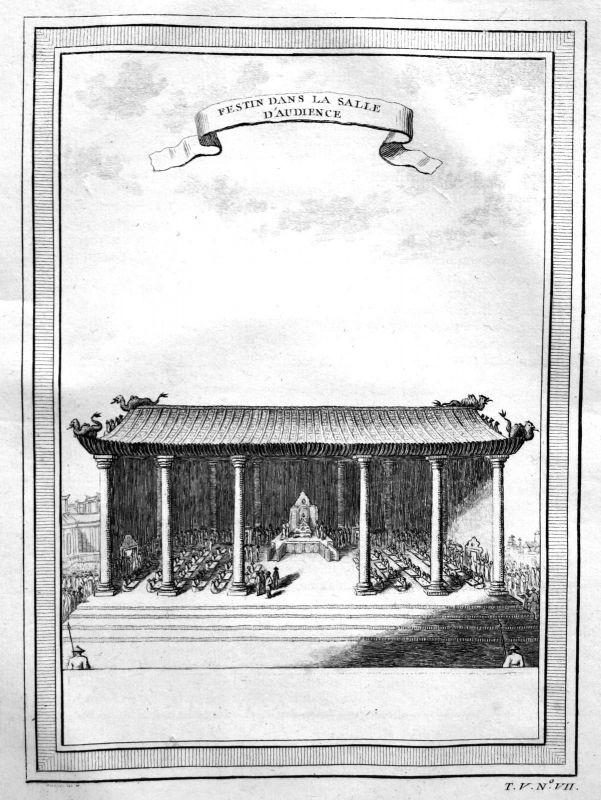 1750 Tempel temple Festessen feast China Ansicht view Kupferstich antique print 0