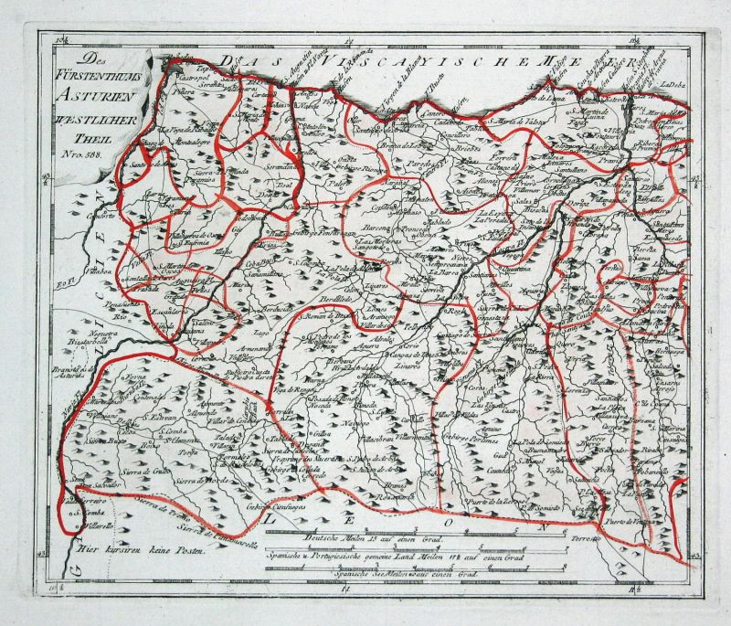 Spanien Spain Portugal Asturien Asturias Boal map Reilly engraving Kupferstich